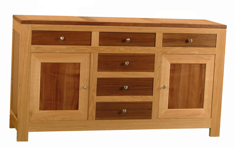 Buffet 2 portes 6 tiroirs ch ne noyer naturel bois 100 for 2 chambres en enfilade