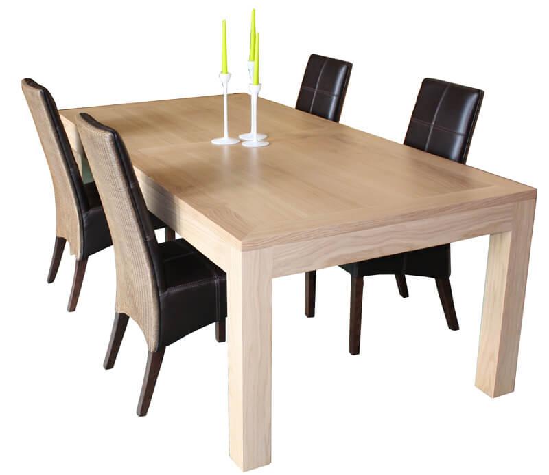 table repas rectangulaire 2 allonges ch ne blanchi bois. Black Bedroom Furniture Sets. Home Design Ideas