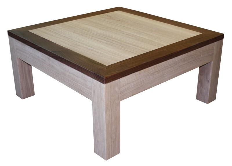 table basse 2 tiroirs double plateau ch ne blanchi. Black Bedroom Furniture Sets. Home Design Ideas