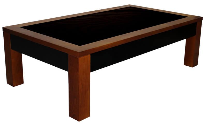 Table basse 2 tiroirs merisier teint verre laqu noir - Table basse en verre noir ...