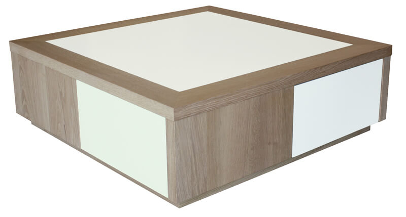 Table basse 2 tiroirs merisier teint verre laqu noir for Table basse blanche en bois