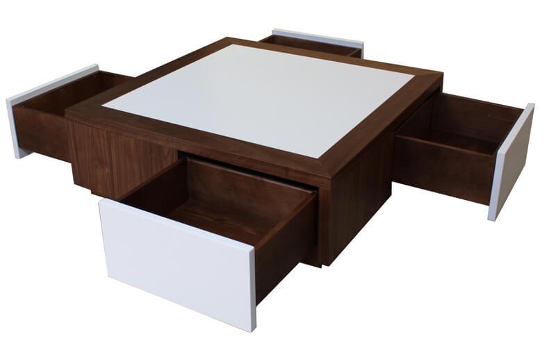 Table basse 4 tiroirs en toile ch ne weng noir - Table basse avec roulette ...