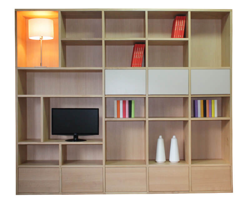 composition murale tv biblioth que bas 5 tiroirs milieu. Black Bedroom Furniture Sets. Home Design Ideas