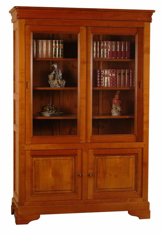 Vitrine 2 portes vitrées Louis Philippe Merisier teinté décorateur bois 100%  -> Vitrine En Bois Massif
