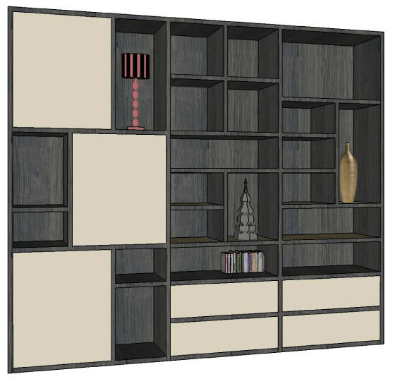 composition murale 3 portes asym triques 2 tiroirs ch ne gris et laqu tourterelle. Black Bedroom Furniture Sets. Home Design Ideas