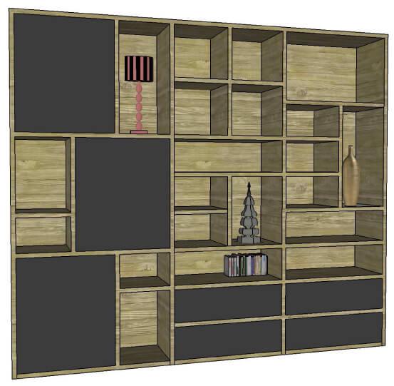 biblioth que composable bas 4 tiroirs gauche 3 portes ch ne flott laqu. Black Bedroom Furniture Sets. Home Design Ideas